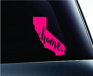 #3 Home California State Sacramento Silhouette Symbol Sticker Decal Car Truck Window Computer Laptop (Pink)