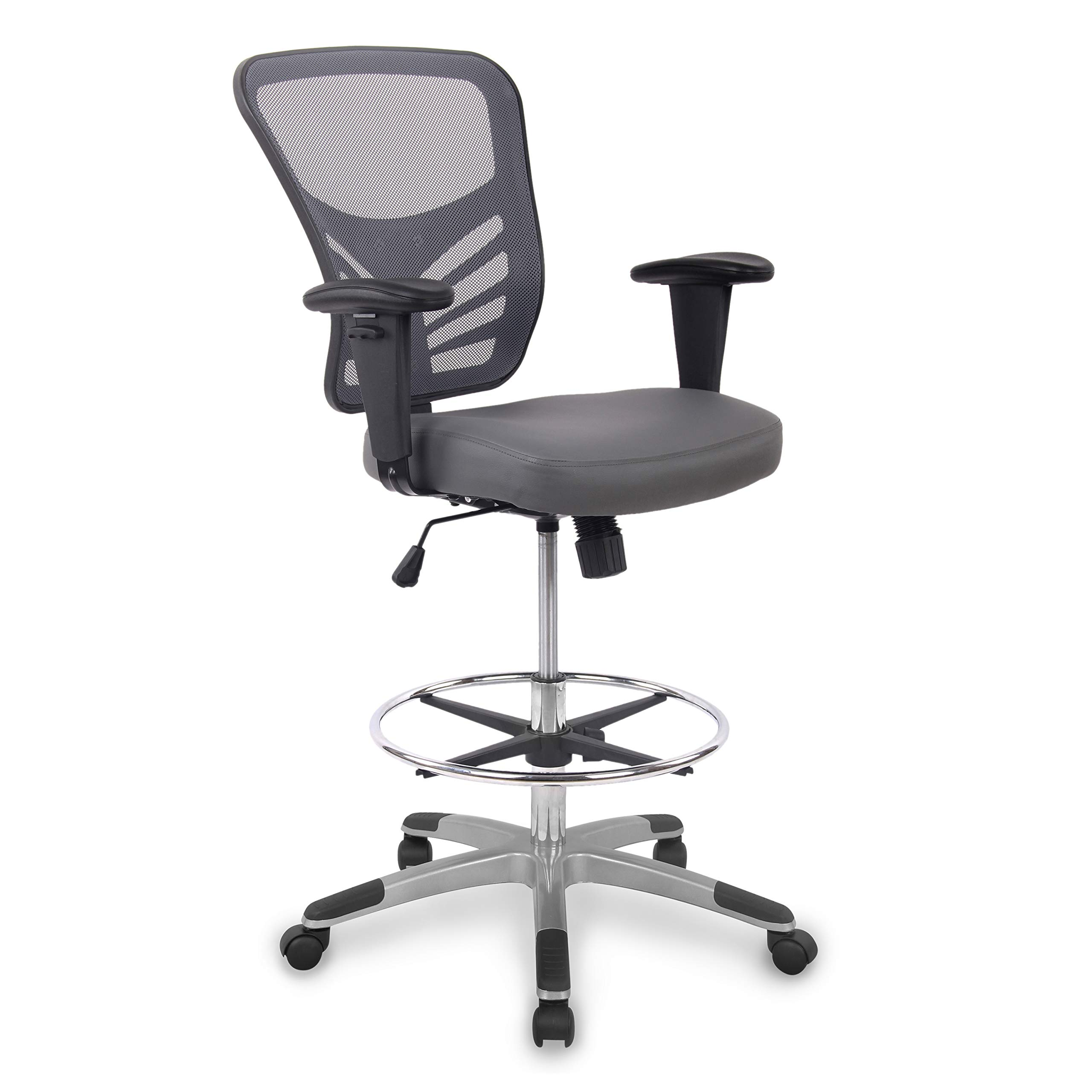Poly and Bark Brighton Drafting Chair with Vegan Leather Seat in Gray