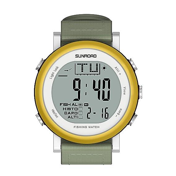 SUNROAD FR721A - Reloj Digital de Pesca, Alarma, barómetro, termómetro con Correa de Nailon: Amazon.es: Relojes