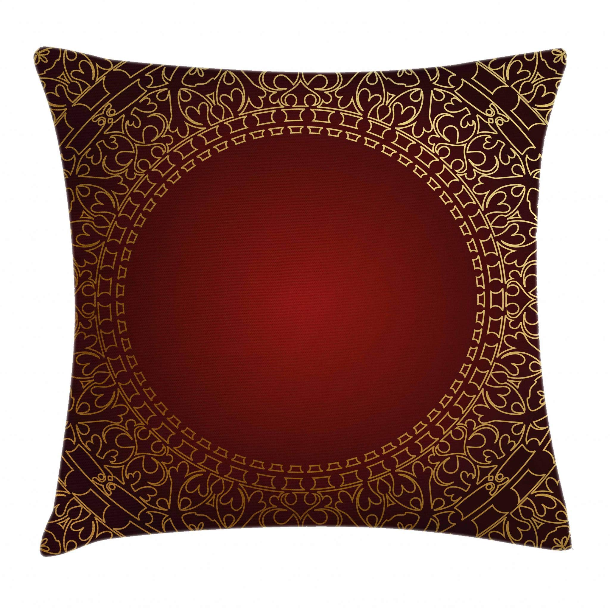 Ambesonne Maroon Throw Pillow Cushion Cover, Vintage Frame with Eastern Motifs Traditional Retro Classic Art, Decorative Square Accent Pillow Case, 20 X 20 Inches, Earth Yellow Pale Yellow Ruby