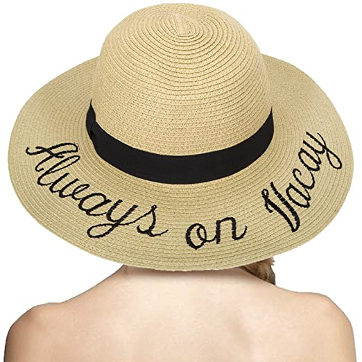1ea363de89e LONSANT Women's Paper Weaved Crushable Beach Embroidered Quote Adjustable  Floppy Brim Sun Hat