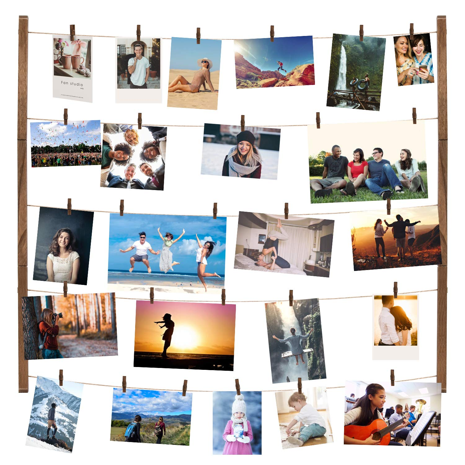 ONE WALL DIY Hanging Photo Display, 26x28 inch Rustic Wood Picture Frames Collage Set Includes Hanging Twine Cords, 50 Clothespins& Wall Mounts for Hanging Photos, Prints & Artwork