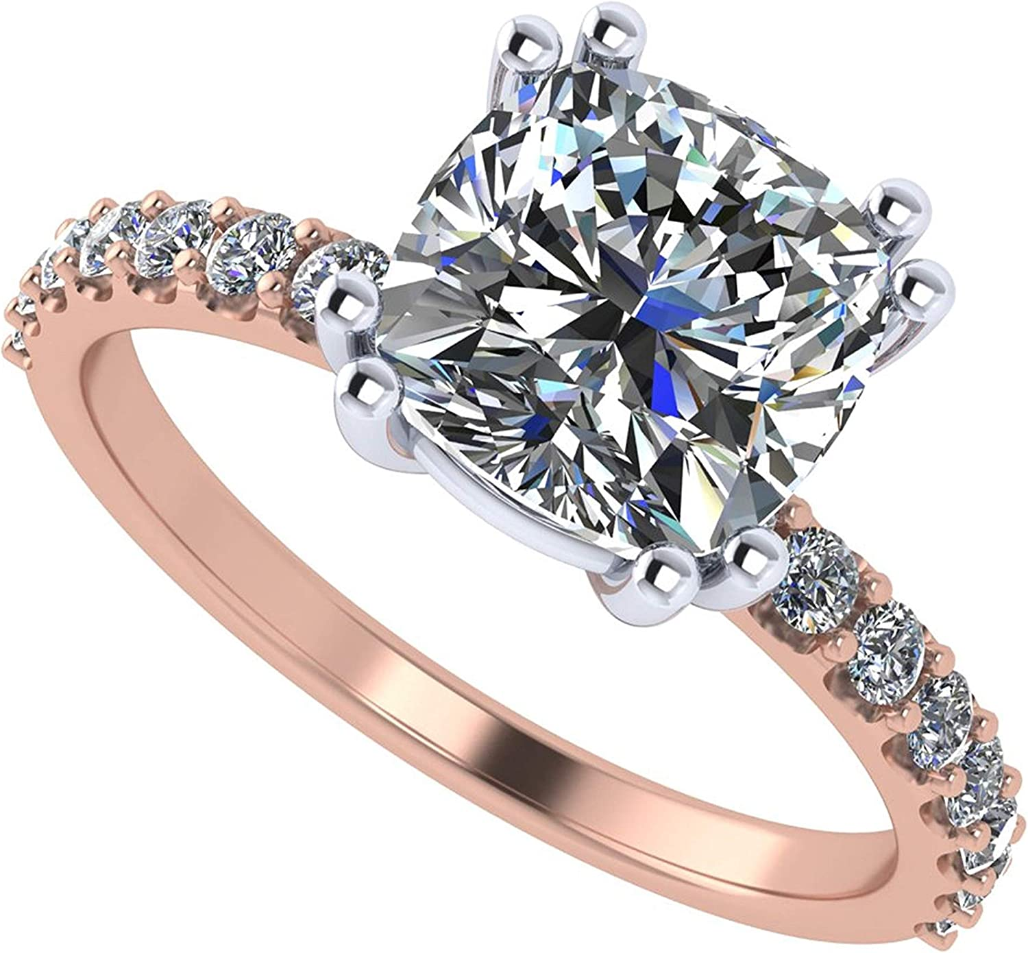 14K Cushion Cut Solitaire w/sides Engagement Ring made w ...