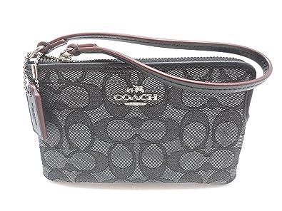 58b8d33f8c6852 Coach C Signature Logo Wristlet Hand Bag Purse Outline Smoke Gray ...