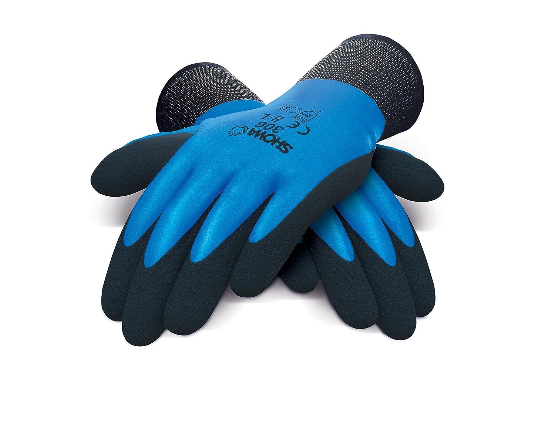 Showa 306 M Gants multi-usages, complè te Latex Mousse Revê tement sur support 13 Gauge Nylon/Polyester tissus, paume, M, bleu/noir complète Latex Mousse Revêtement sur support 13Gauge Nylon/Polyester tissus 306M