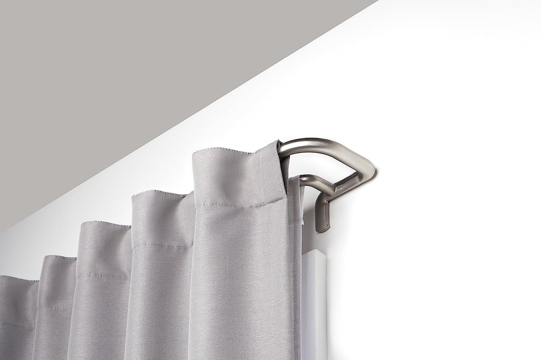 Umbra Twilight Double Rod Set – Wrap Around Design is Ideal for Blackout Room Darkening Curtains, 28 to 48 Inch, Matte Nickel, 48-Inch