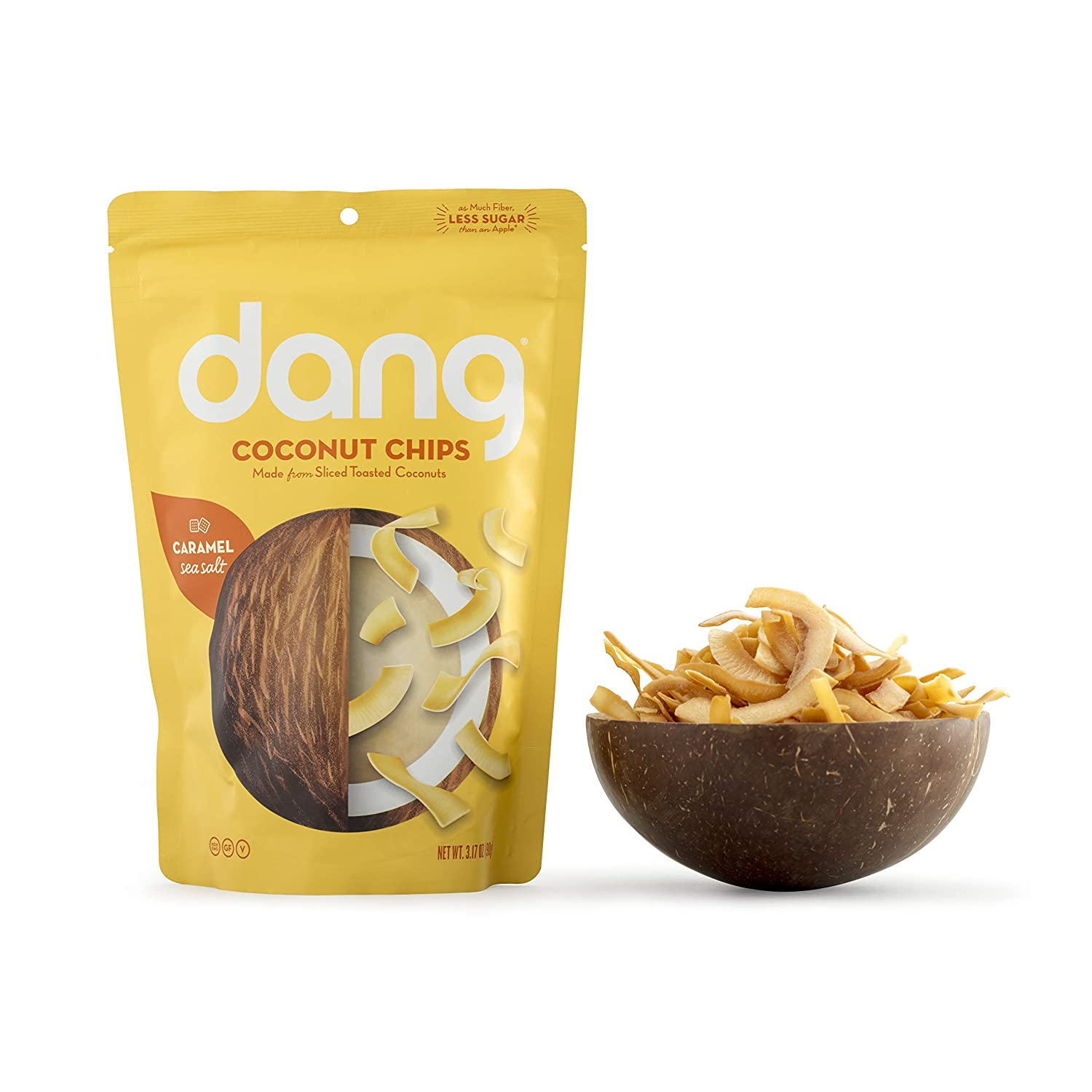 Dang Toasted Coconut Chips | Caramel Sea Salt | 1 Pack | Vegan, Gluten Free, Paleo Friendly, Non GMO, Healthy Snacks Made with Whole Foods | 3.17 Oz Resealable Bag