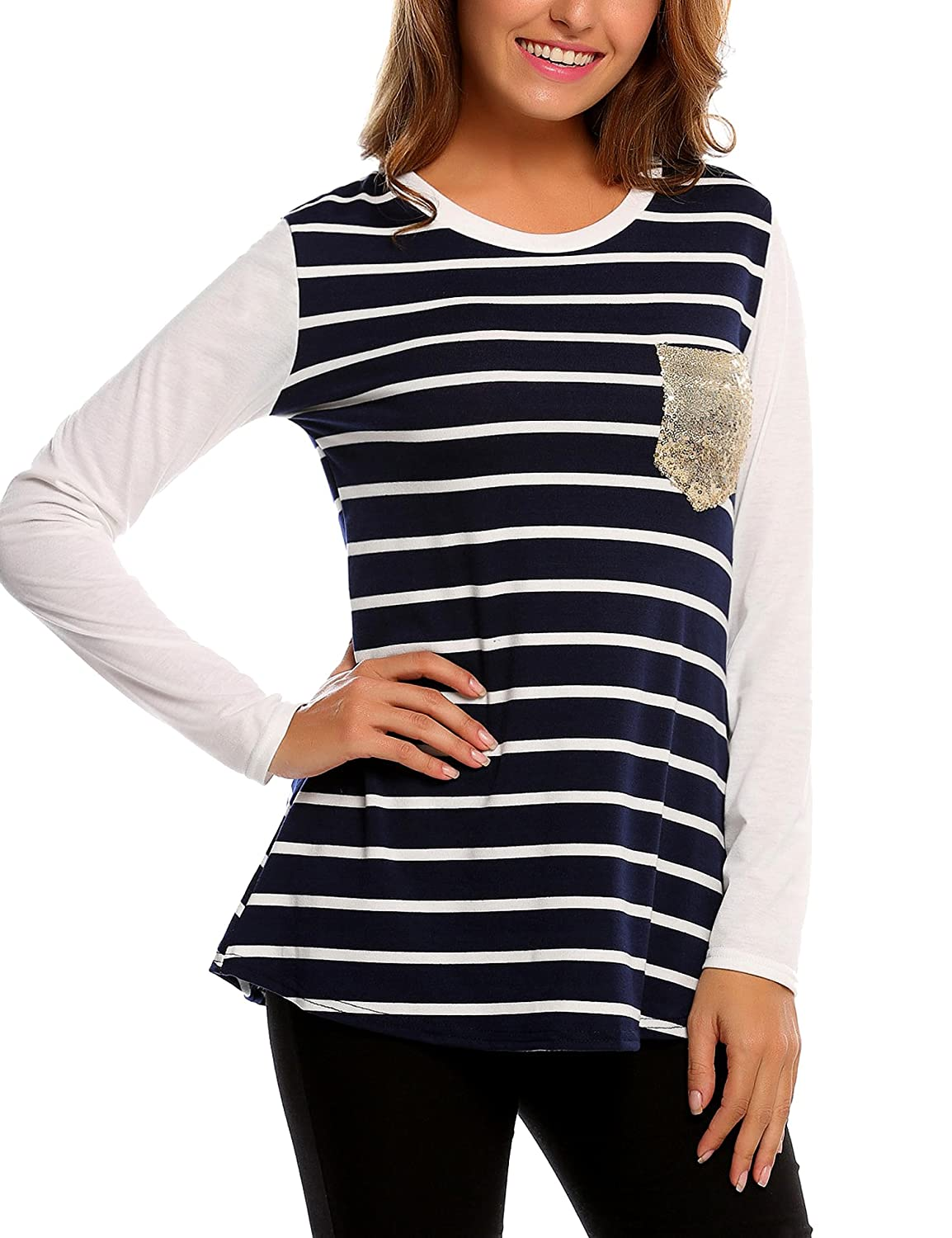 8691d2db ☆Easther Women's Scoop Neck Striped Casual Loose Long Sleeve Blouse Tops Tee  Shirt with Pocket. ☆Unique Style: This flattering loose style top features  ...