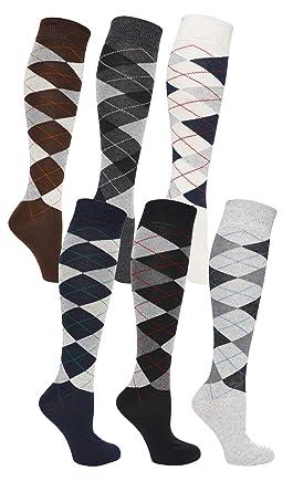d714a9663 6 Pairs Mens Long Hose Cotton Rich Argyle Golfing Sport Knee High Socks  Size 6-11  Amazon.co.uk  Clothing