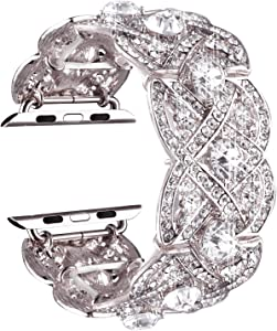 VIQIV Bling Bands for Apple Watch 38mm 42mm Iwatch Series 3, Series 2, Series 1, Diamond Rhinestone Stainless Steel Metal Bracelet Wristband Strap for Women