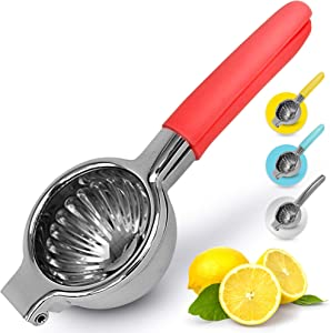 Zulay Lemon Squeezer Stainless Steel with Premium Heavy Duty Solid Metal Squeezer Bowl and Food Grade Silicone Handles - Large Manual Citrus Press Juicer and Lime Squeezer Stainless Steel (Red)