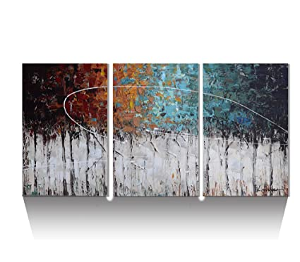 Amazon.com: ARTLAND Hand-Painted Color Forest 3-Piece Gallery ...