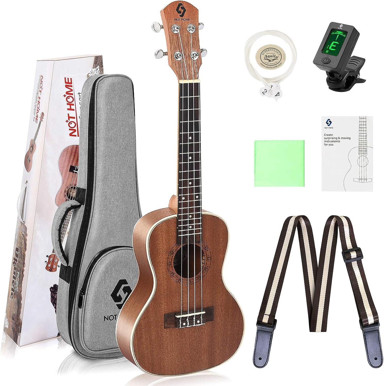 Ukulele Concert Size Starter Kit, 23 inch Professional Wooden Ukelele Instrument Kit Hawaiian Yukelele Pack with Gig Bag & Digital Tuner & Strap & 4 Aquila Strings Set