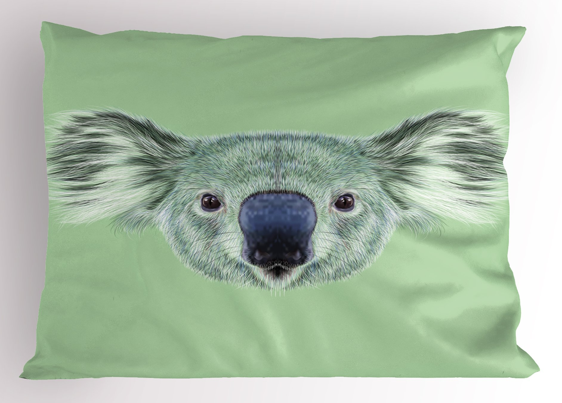 Ambesonne Animal Pillow Sham, Tropical Koala Bear Portrait Cute Jungle Hipster Zoo Wild Graphic Print, Decorative Standard Queen Size Printed Pillowcase, 30 X 20 inches, Mint and Reseda Green
