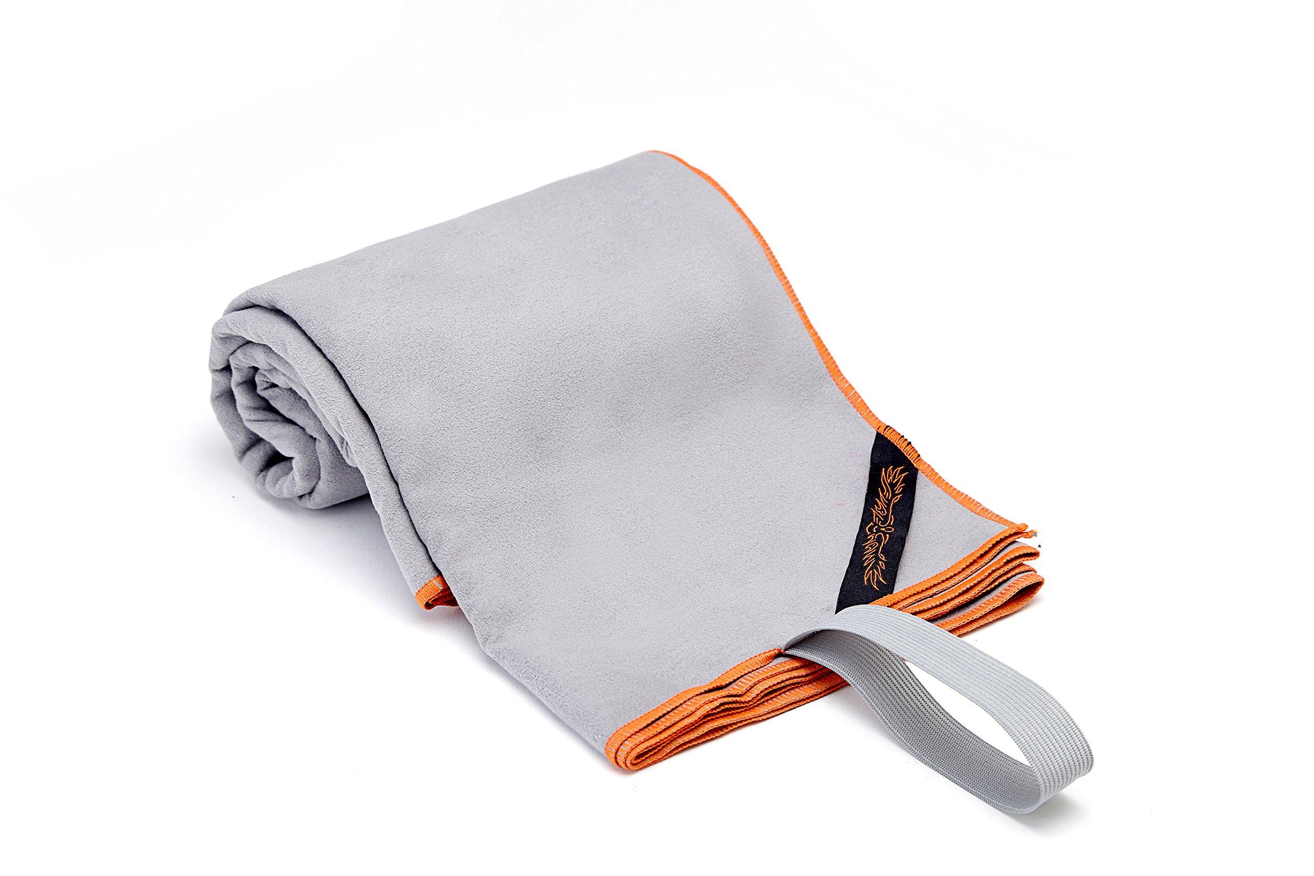 Microfiber Quick Drying Towel for Gym, Swim, Yoga, or Travel (Gray)