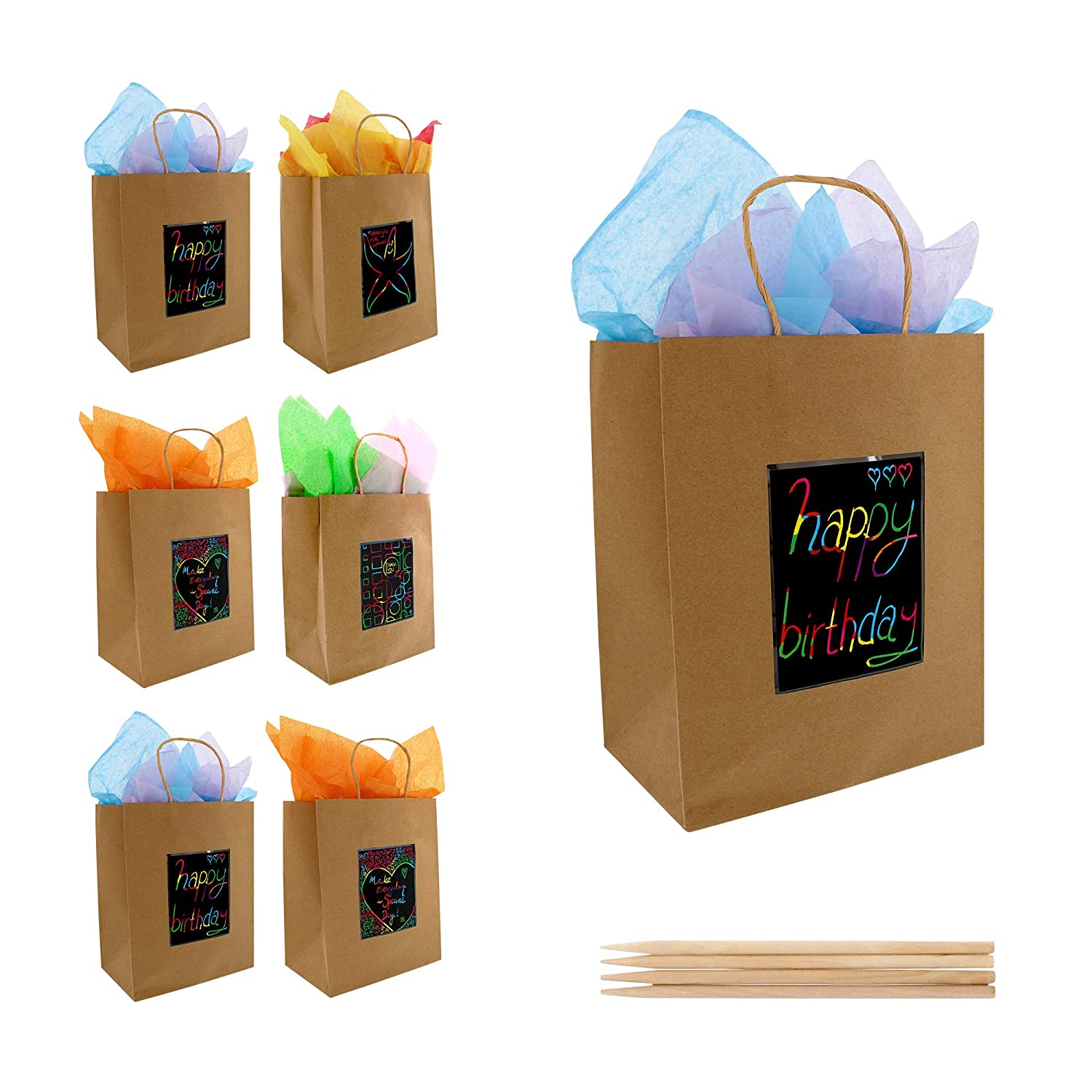 7 Brown Kraft Paper Gift Bags with Scratch Paper Panel for Customization, Tissue Paper...