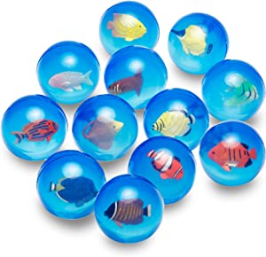 12 Clear Bouncy Balls with Fish - Mini Rubber Bouncing Ball Toys with Marine Animals Inside - Great Gift for Kids Party Favors, Prizes and Rewards – Small - by Gee Gadgets