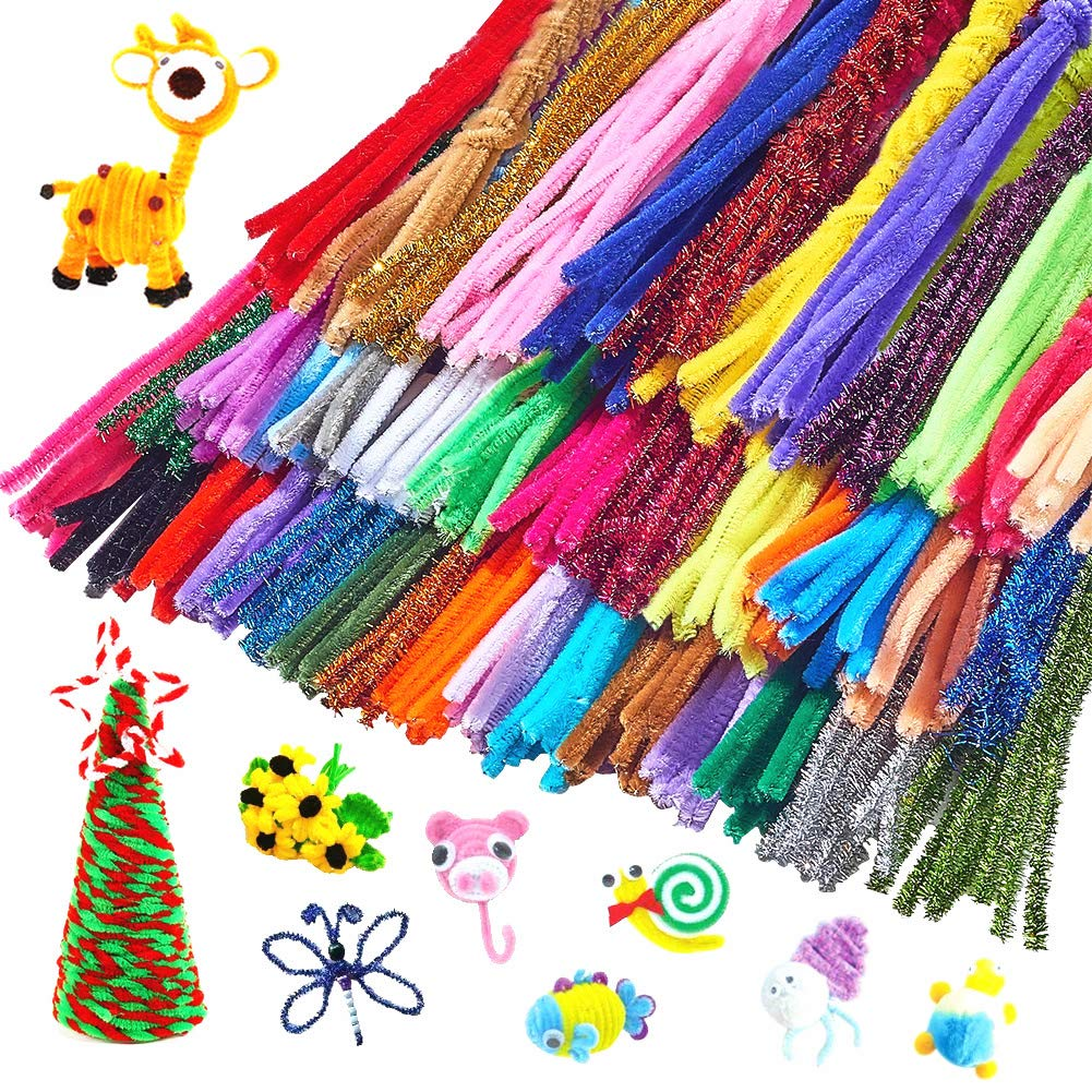6mm x 12 Inches Outuxed 800pcs Chenille Stems Pipe Cleaners in 40 Assorted Colors Including 10 Shiny Colors for DIY Arts Craft Projects Decorations