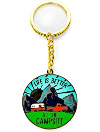 Camco Life is Better at The Campsite Sunrise Keychain-Gold Ring for Car Fobs and Keys (53289)