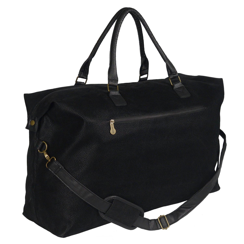 Bellemonde Travel Duffle Bag with Timeless Vegan Faux Suede   Luggage Weekender