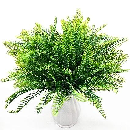 Cattree Artificial Shrubs Plastic Plants Bamboo Grass Fake Green Bushes Greenery Leaves Wedding Indoor Outdoor Home Garden Verandah Office Table