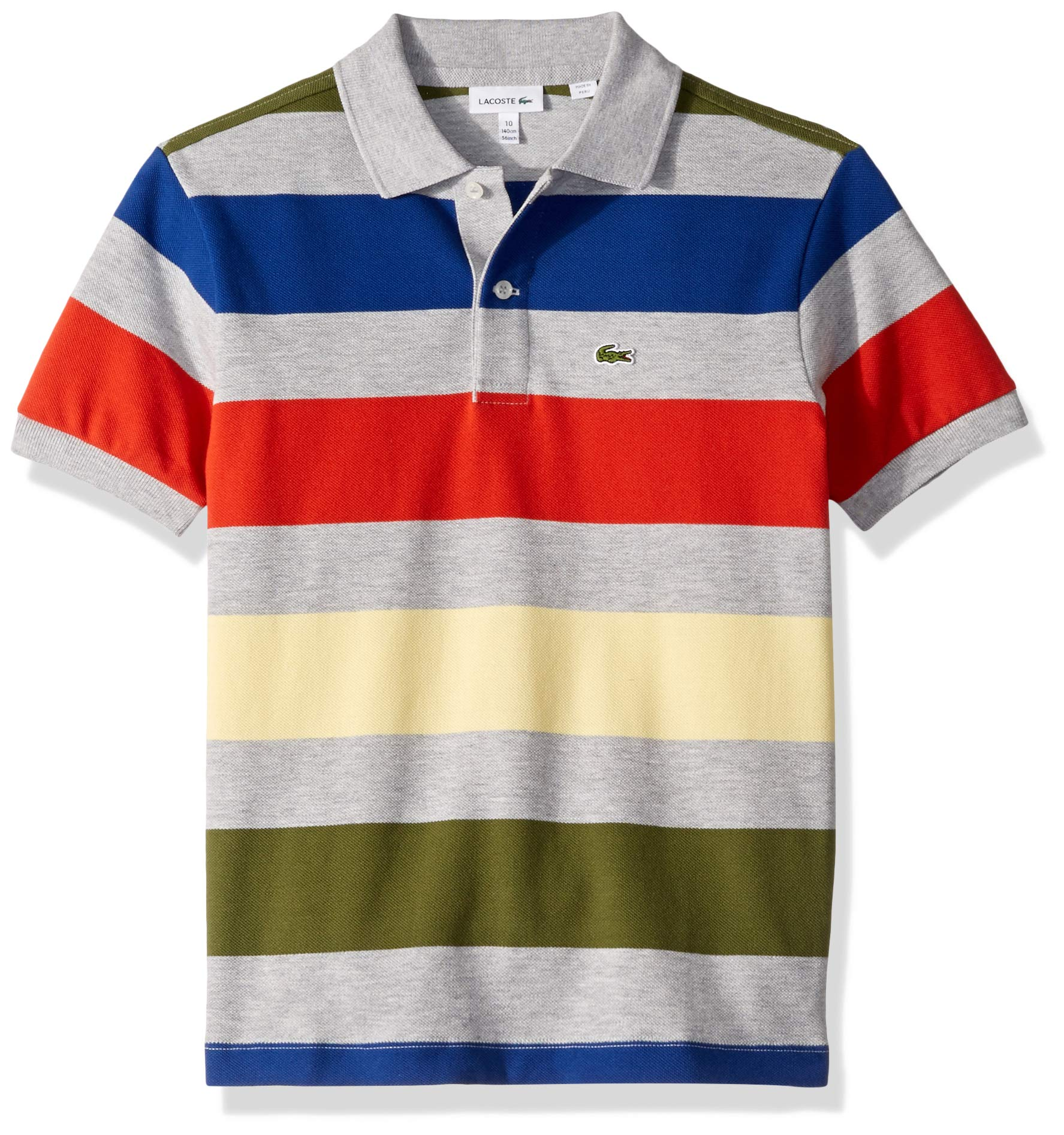 Lacoste Toddler BOY Colorful Striped Pique Polo, Silver Chine/Multi, 3YR