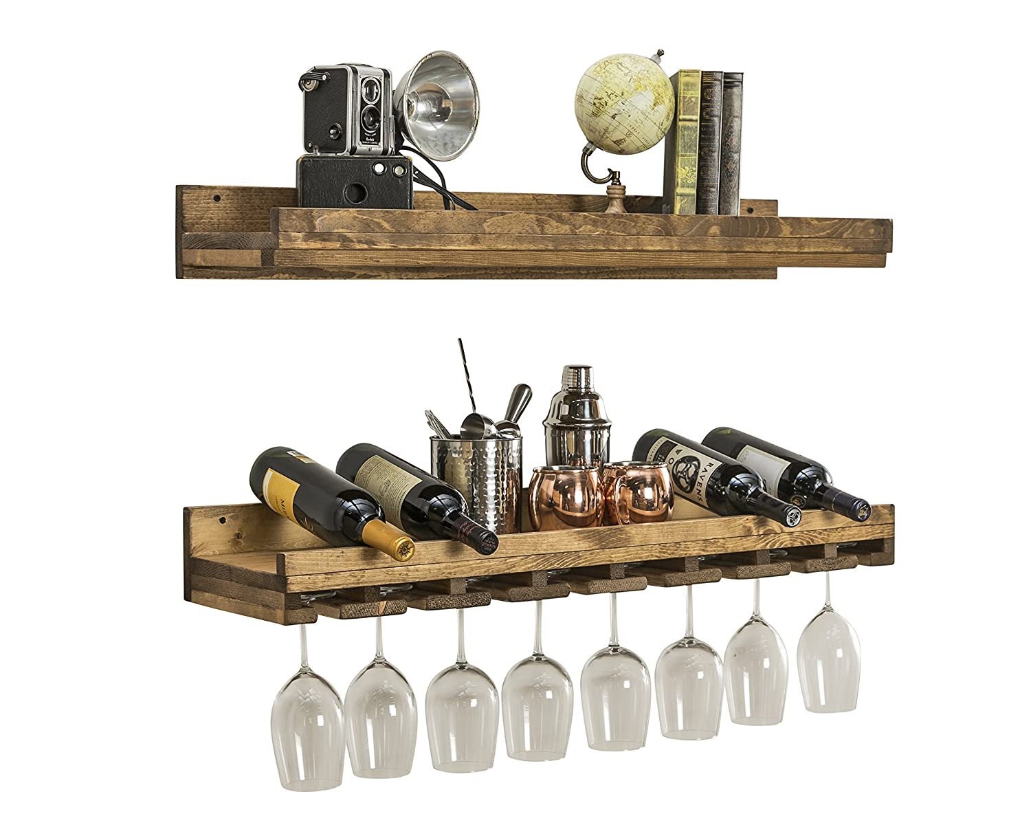 Floating Wine Shelf and Glass Rack Set (Wall Mounted), Rustic Pine Wood Handmade by del Hutson Designs (6H x 24W x 10D, Dark Walnut) COMIN18JU068785