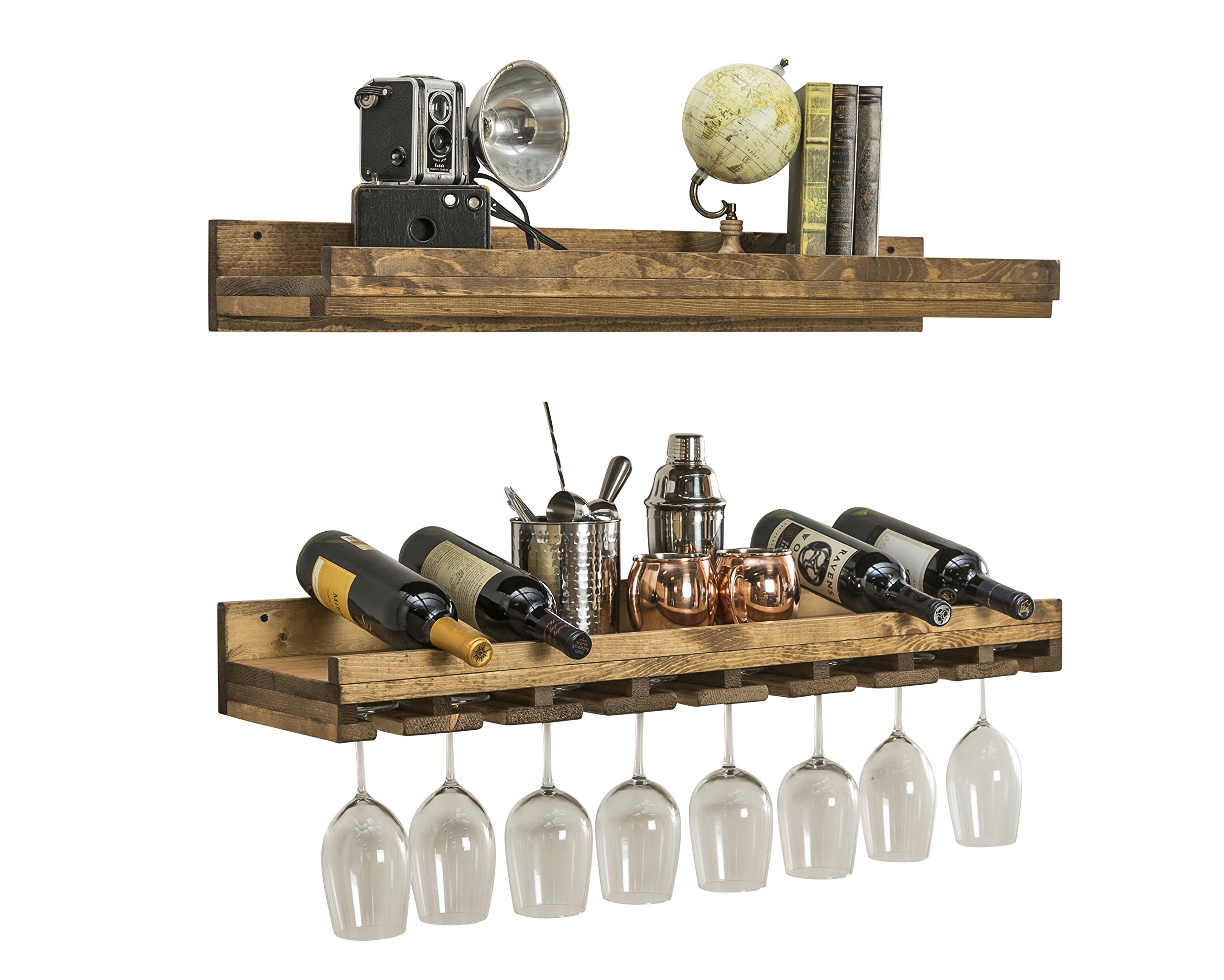 Floating Wine Shelf and Glass Rack Set (36'' Wall Mounted) (Walnut) by Del Hutson Designs