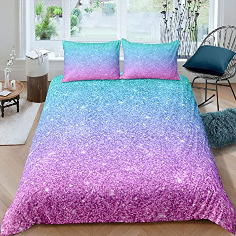 1 Duvet Cover+ 1 Pillowcases Feelyou Girl Bedding Colorful Glitter Girly Turquoise Teal Comforter Cover Set Blue Pink Pastel Colors Microfiber Duvet Cover 2 Pcs Twin Size Quilt Cover