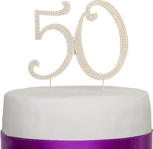 Awesome 50 Cake Topper For 50Th Birthday Or Anniversary Rhinestone Metal Funny Birthday Cards Online Alyptdamsfinfo