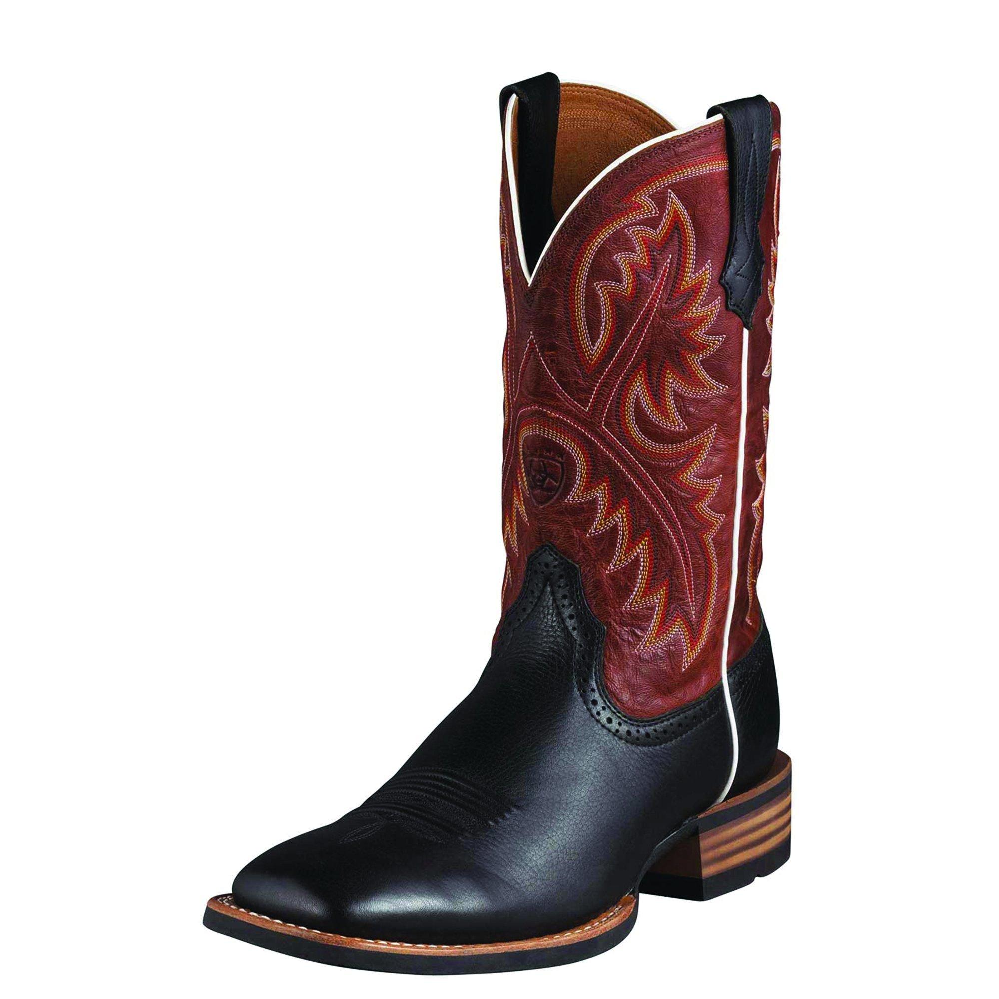 Ariat Men's Quickdraw Western Boot, Black Deer Tan/Washed Adobe, 10 B US