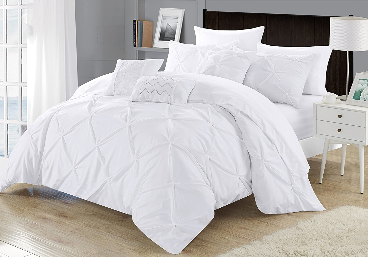 Chic Home 8 Piece Zita Pinch Pleated, Ruffled and Pleated Complete Twin Bed in a Bag Comforter Set White Sheets Set and Decorative Pillows Included