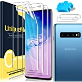 [3+2 Pack] UniqueMe Compatible for Samsung Galaxy S10 Full Coverage Flexible TPU Screen Protector (Not Glass) and Tempered Gl