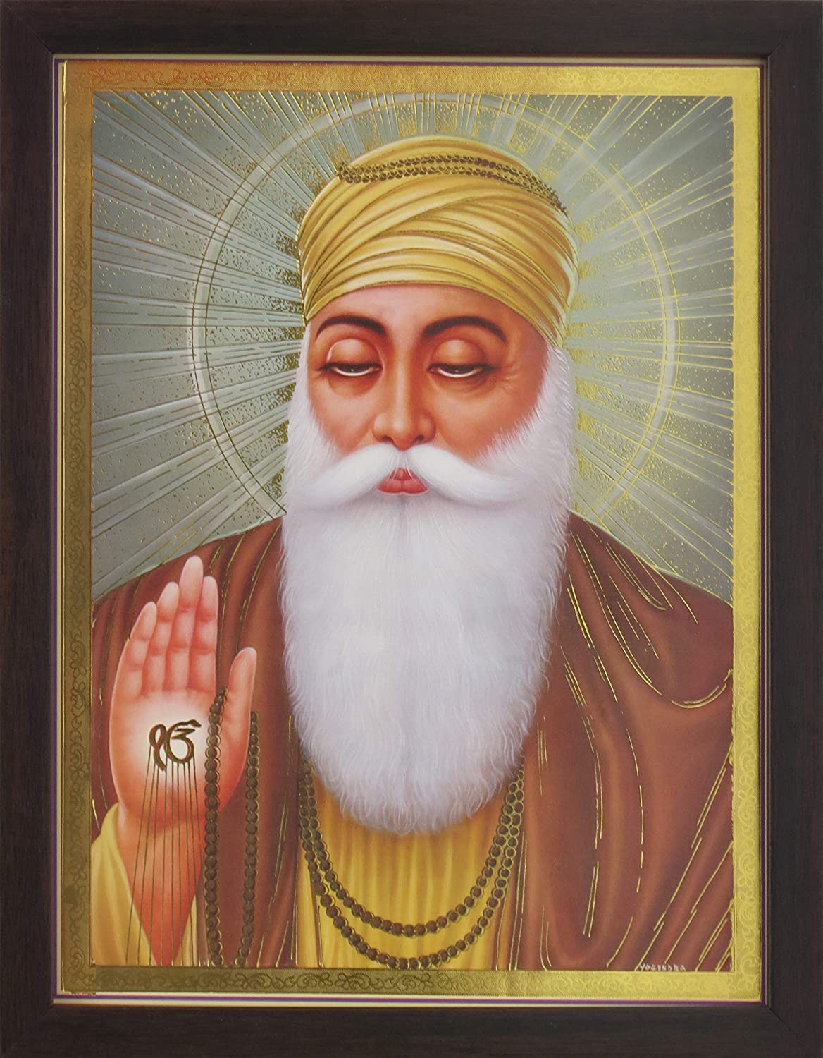 Handicraft Store Gurunanak Dev Ji Giving Blessings with ekumkar Symbol in Hand, A ポスタープリント フレームギフト Sikh Auspicious purpose. 縁起の良いギフトアイテム。   B07MDKXF9L