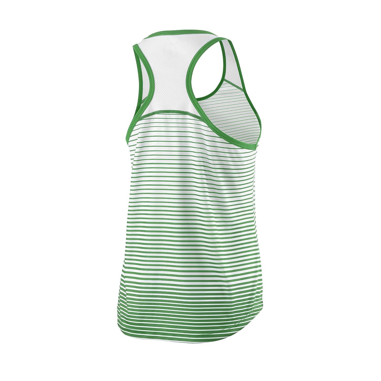 Talla: XS Wilson Camiseta de tenis de tirantes para mujer W Team Striped Tank Verde//Blanco Poli/éster WRA766104