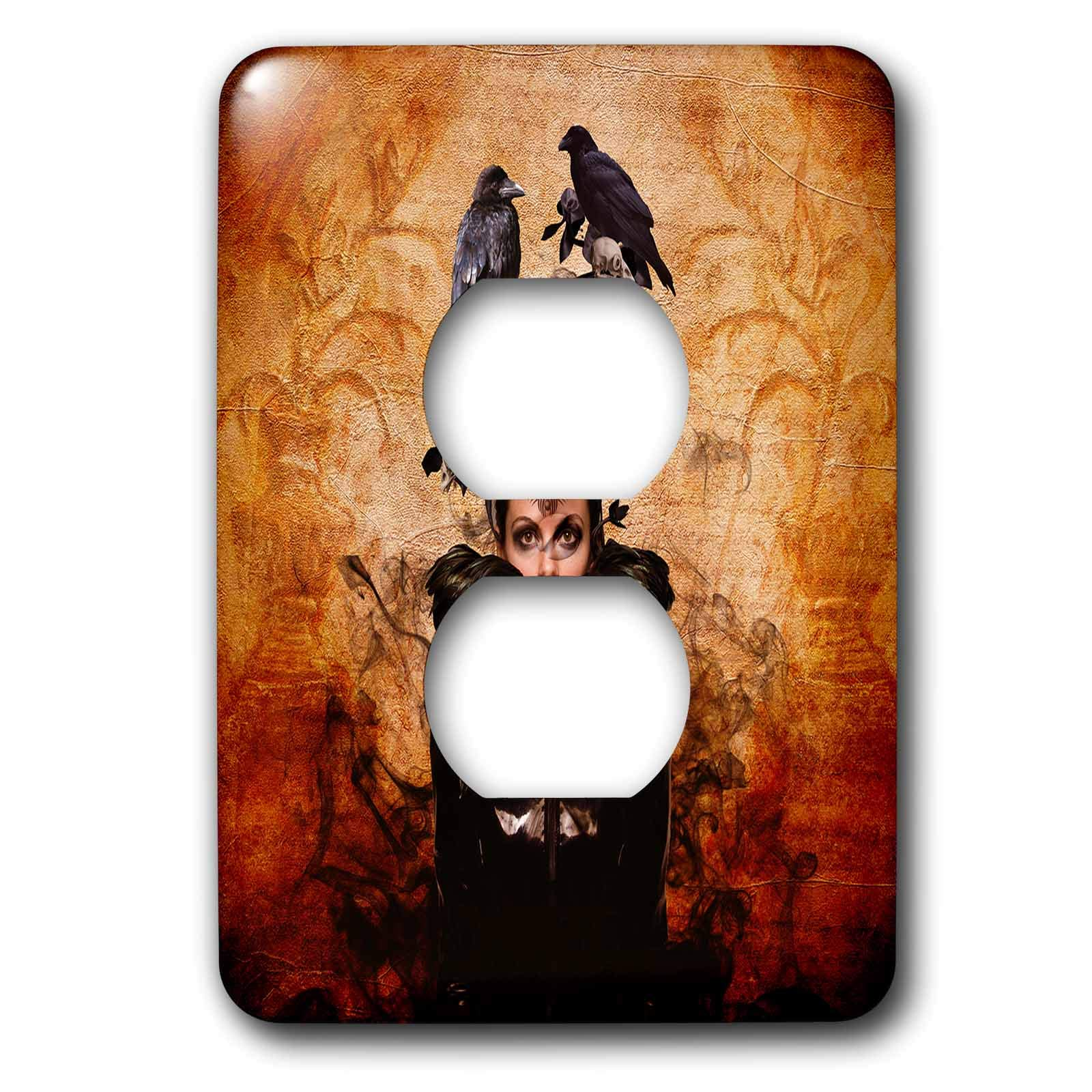 3dRose Lucia - Fantasy - Mysterious Woman with a tribal tatoo, crows and black smoke - Light Switch Covers - 2 plug outlet cover (lsp_289789_6)