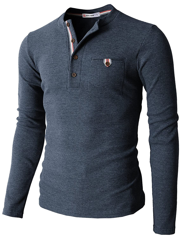 【H2H】 メンズ カジュアル ファッション ワッフル ヘンリー Tシャツ ポケット付き CMTTS0147 B01HRJEZ0C XL|062-ヘザーネイビー 062-ヘザーネイビー XL