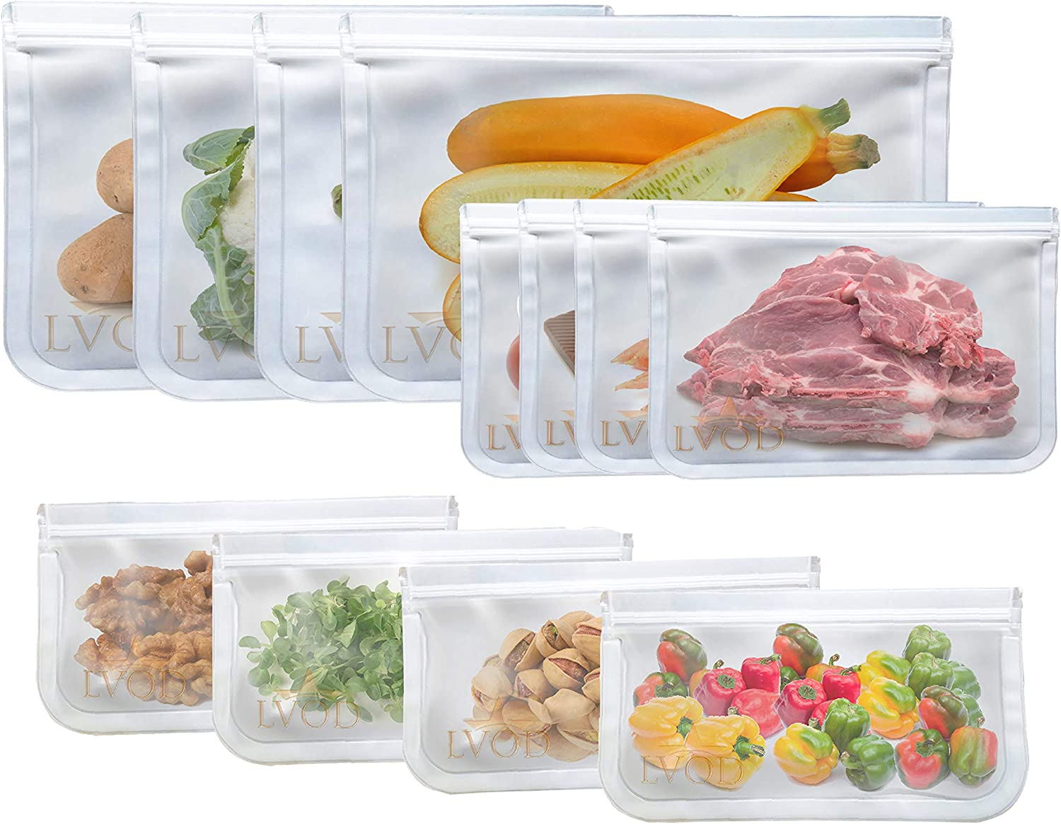 LVOD Reusable Storage Bags 12 Pack, Washable, PVC BPA free Extra Thick Leakproof PEVA & Silicon Special material Freezer Bags for Food, Sandwich, Snacks, Vegetables, Meat & strong Zip lock Seal