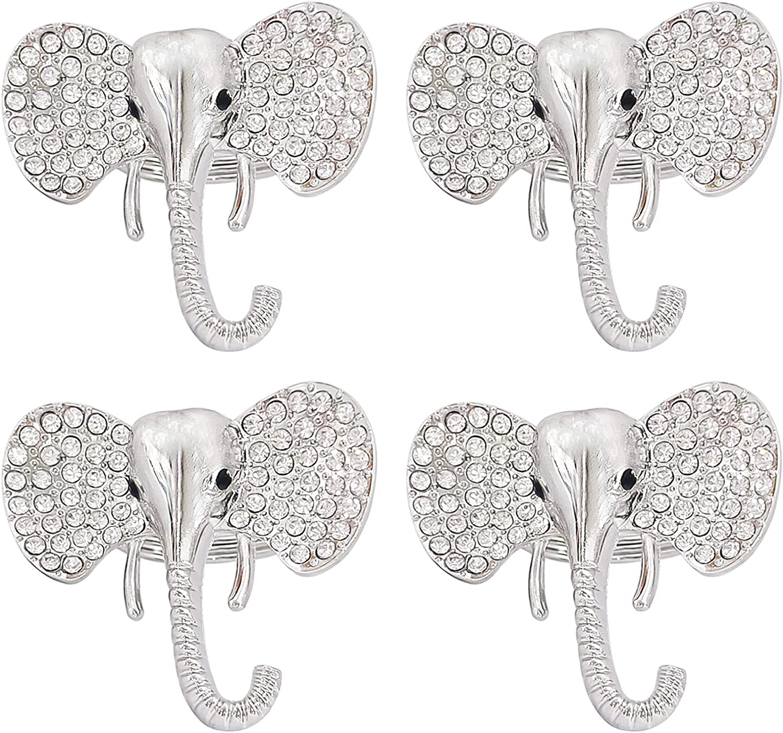 Getfitsoo Elephant Napkin Rings Set of 4, Silver Napkin Rings Holders Rhinestone Napkin Ring Holders Flower Serviette Holders for Party Decoration for Wedding Summer Dinner Table Decor (Elephant)