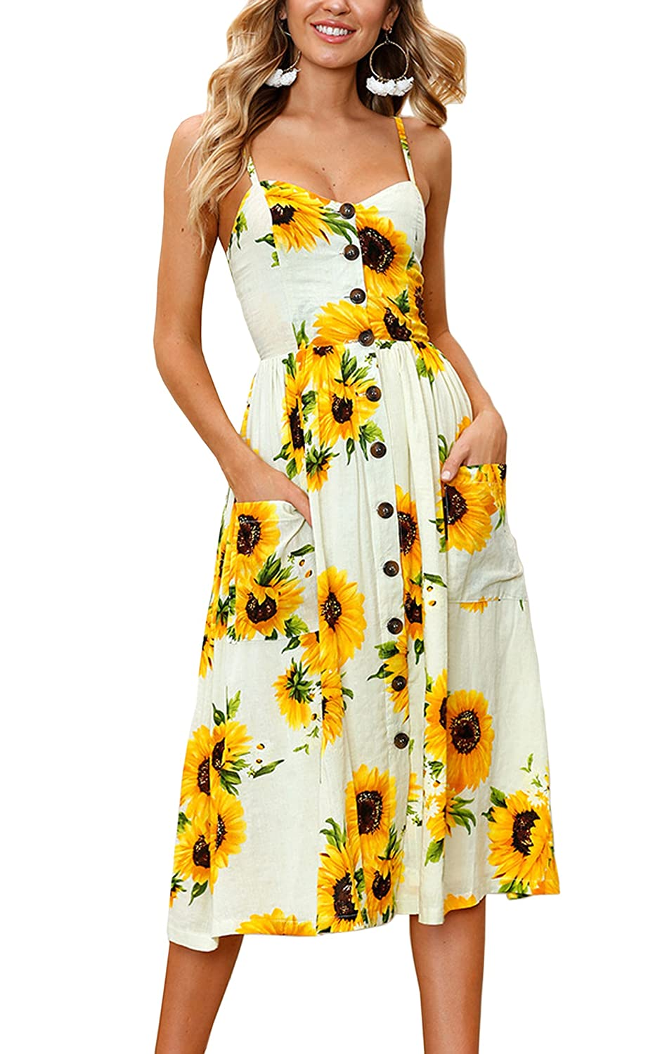 4d55b55828ad9 Hibluco Women's Summer Sexy V-Neck Halter Backless Floral Dress with ...