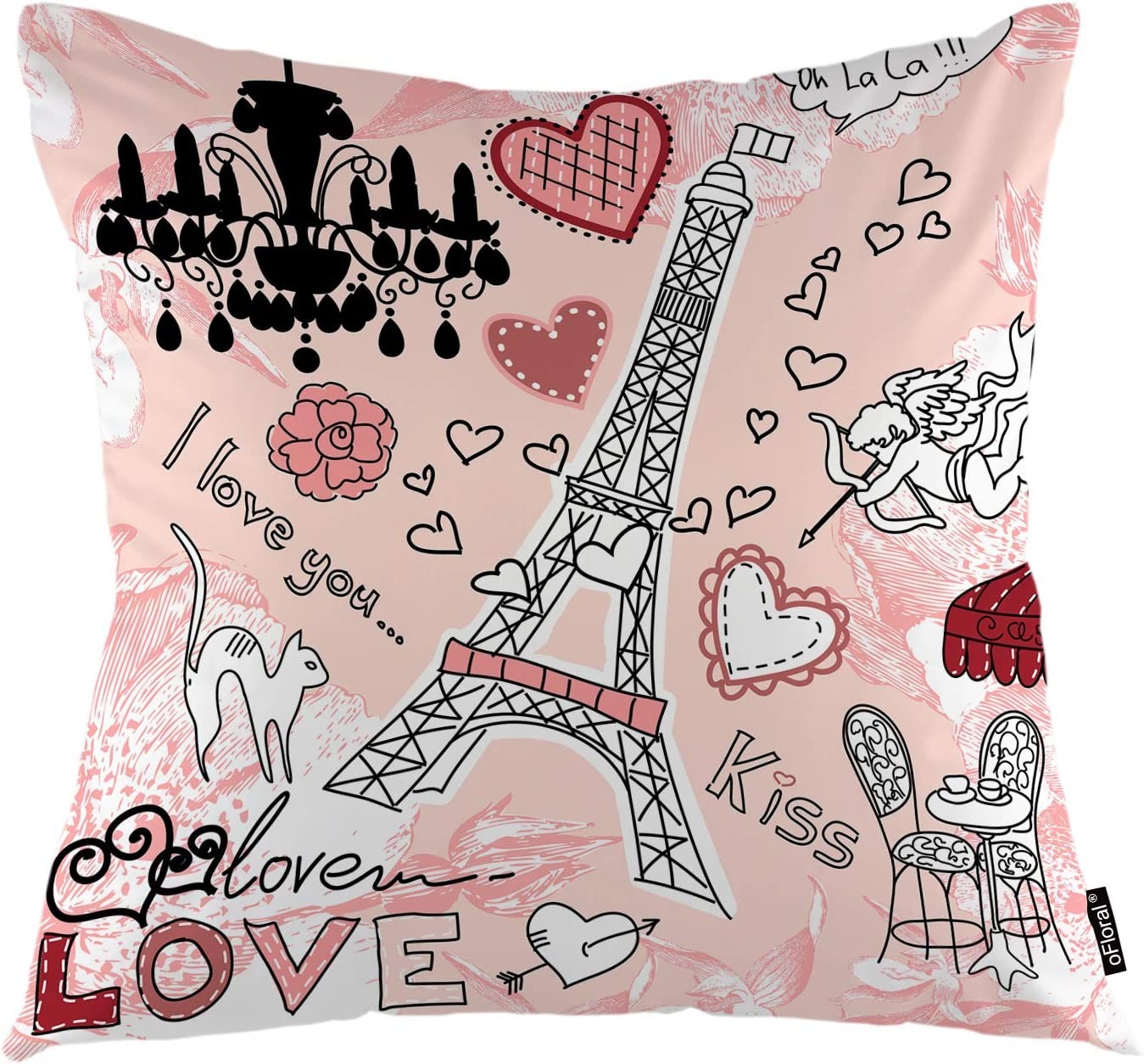 oFloral Eiffel Tower Throw Pillow Cover Love in Paris Romantic Hearts Pink Background Cushion Cover Decorative Pillow Case Home Decor for Sofa Bedroom Car 18x18 Inch Pillowcase