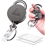 2 Pack Heavy Duty Metal Retractable Badge Holder Reel with Belt Clip Key Ring and Waterproof Vertical Clear ID Card…