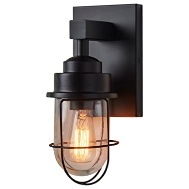 Stone & Beam Jordan Industrial Wall Sconce With Bulb, 11 H, Black