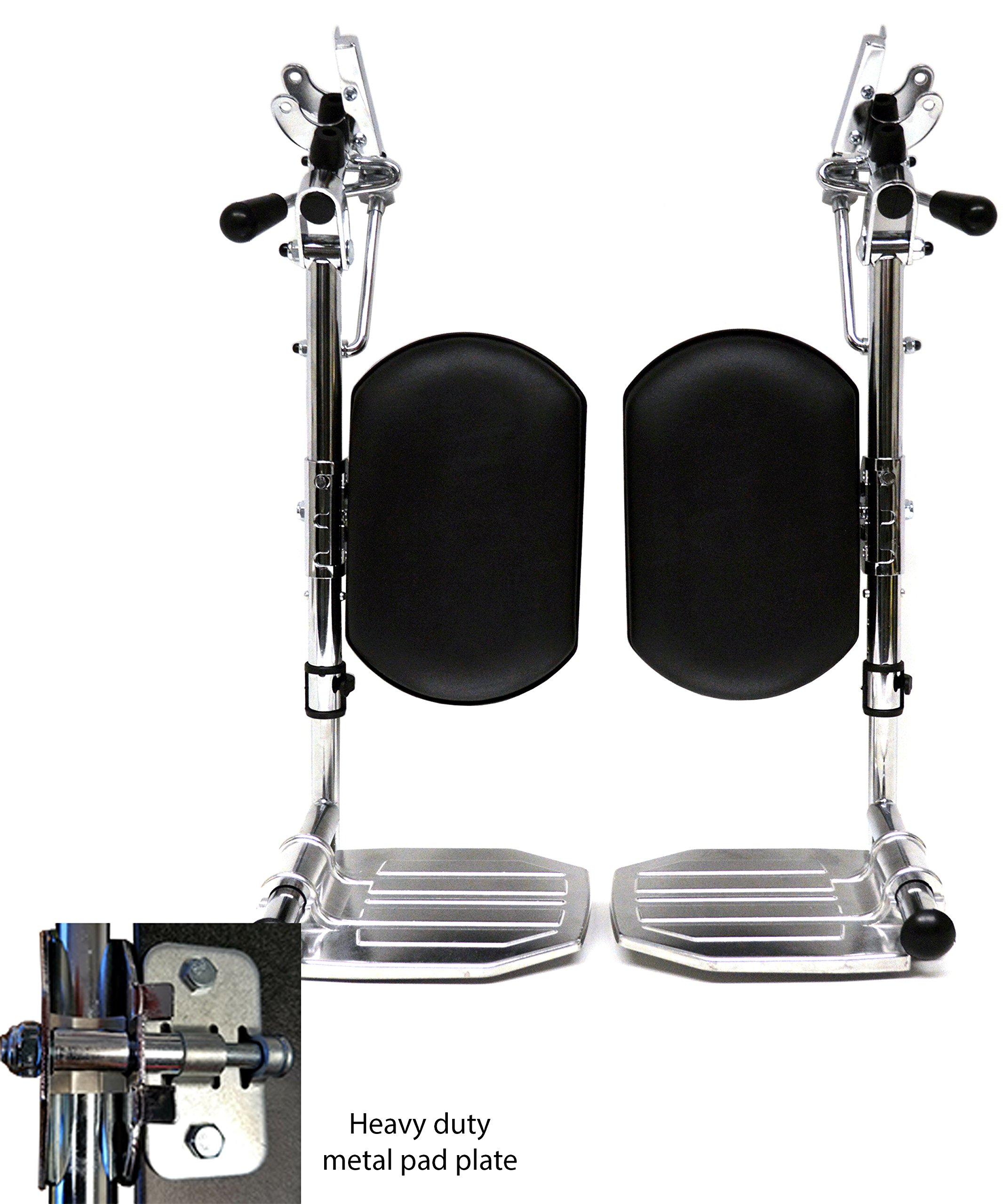 Heavy Duty Chrome Wheelchair Legrests with Aluminum Footplates & Black Calf Pads (Pair), 1-3/8'' Pin Spacing Fits Most Newer Medline, Drive, Invacare, E&J, ALCO & Other Manual Wheelchairs
