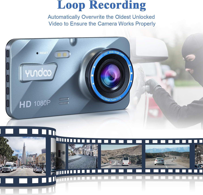Sameriver Cam/éra de Voiture 4 1080p FHD Avant Arri/ère Double Camera avec Capteur G WDR Enregistrement en Boucle D/étection de Mouvement