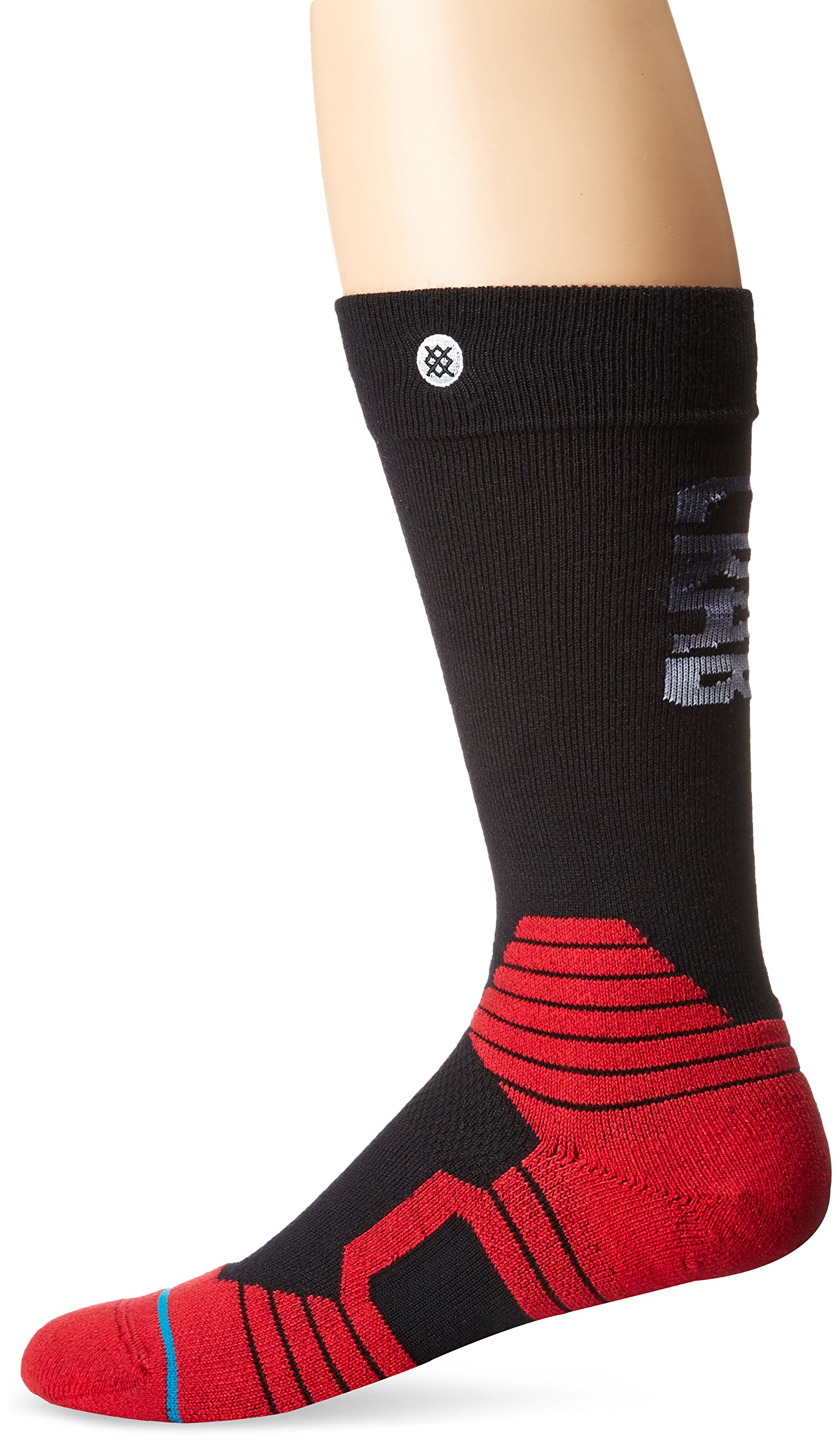 Stance Men's Crab Grab Pinch Merino Wool Insulating Graduated Compression Claw Over the Calf Arch Support Snowboard Sock, Black, L by Stance