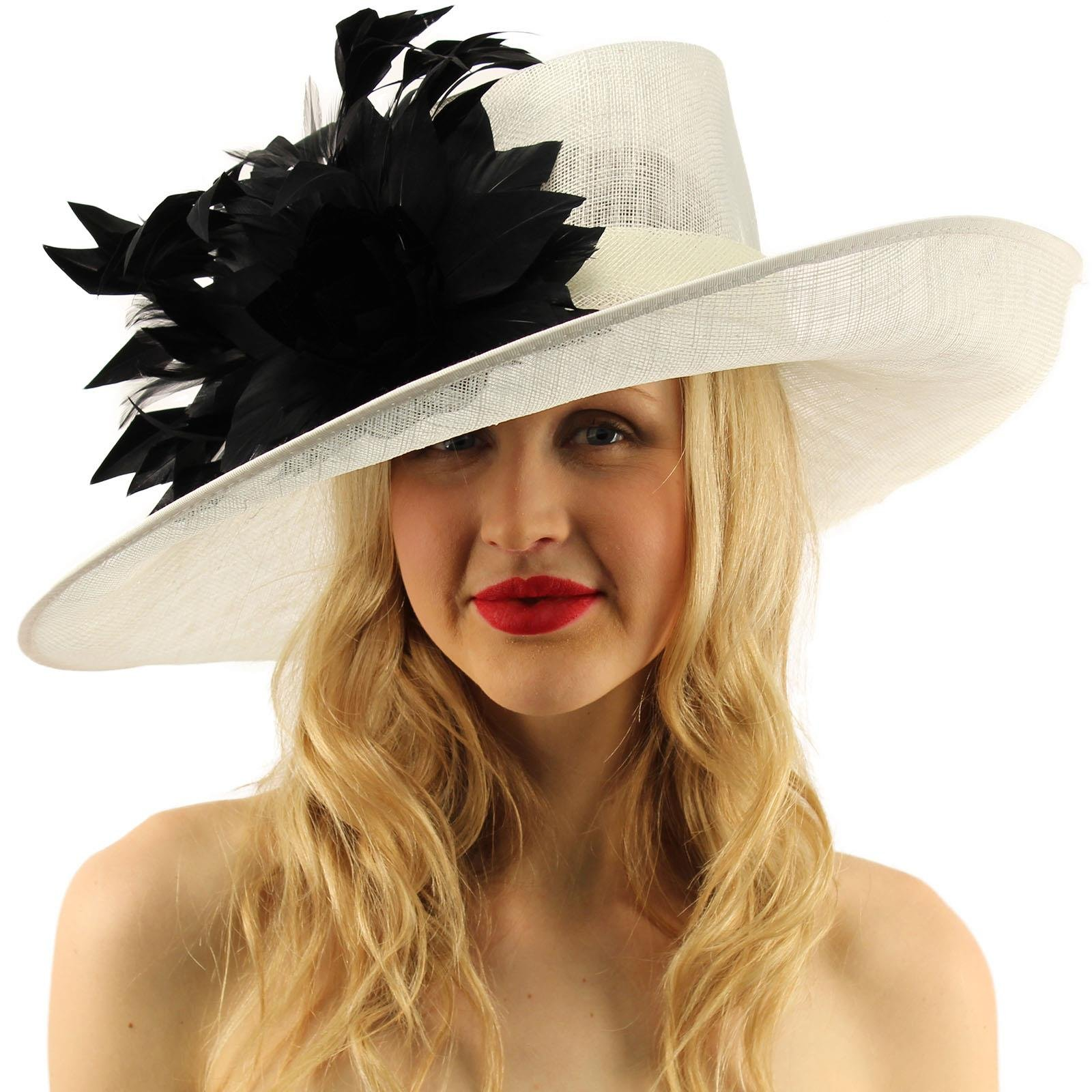 SK Hat shop Glorious Side Flip Sinamy Floral Feathers Derby Floppy Dress Wide Brim Hat White/Black
