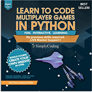 Simply Coding for Kids: Learn to Code Python Multiplayer Adventure Games - Video Game Design Coding Software - Computer Programming for Kids, Ages 12-18, (PC, Mac Compatible)