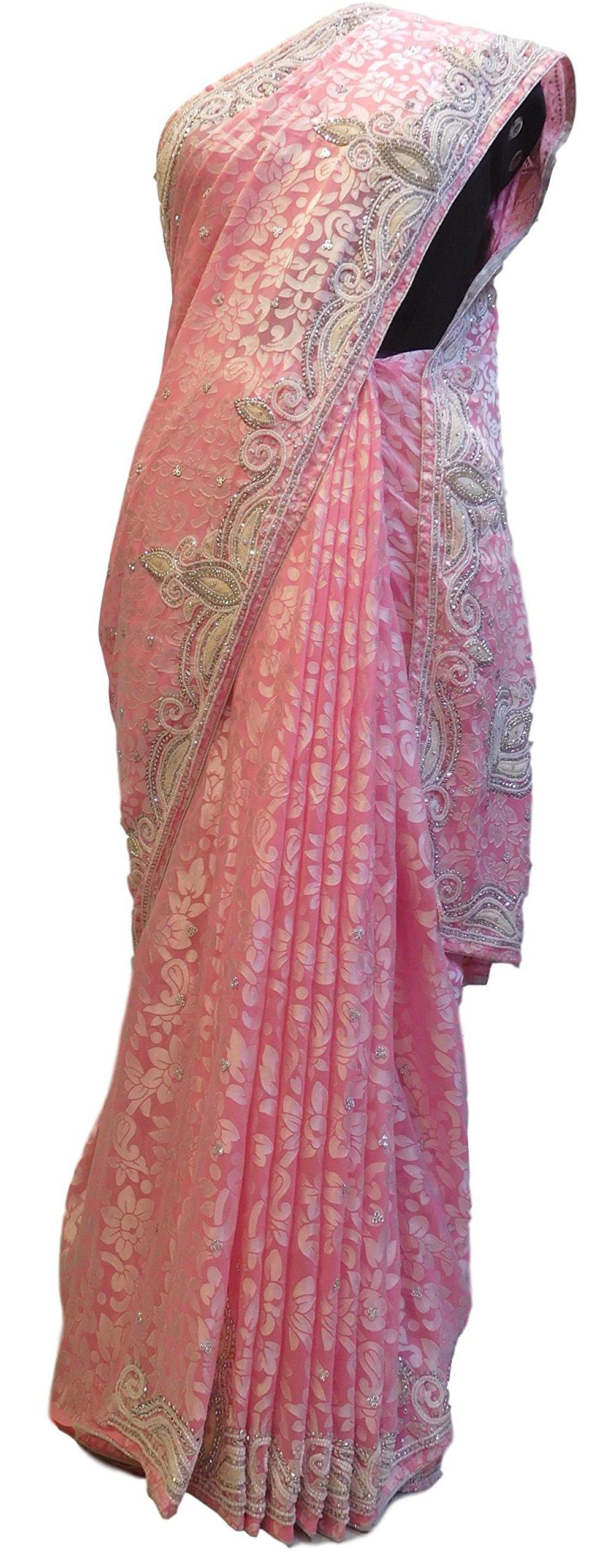 SMSAREE Pink Designer Bridal PartyWear Brasso Thread Beads Stone Work Wedding Saree Sari E012