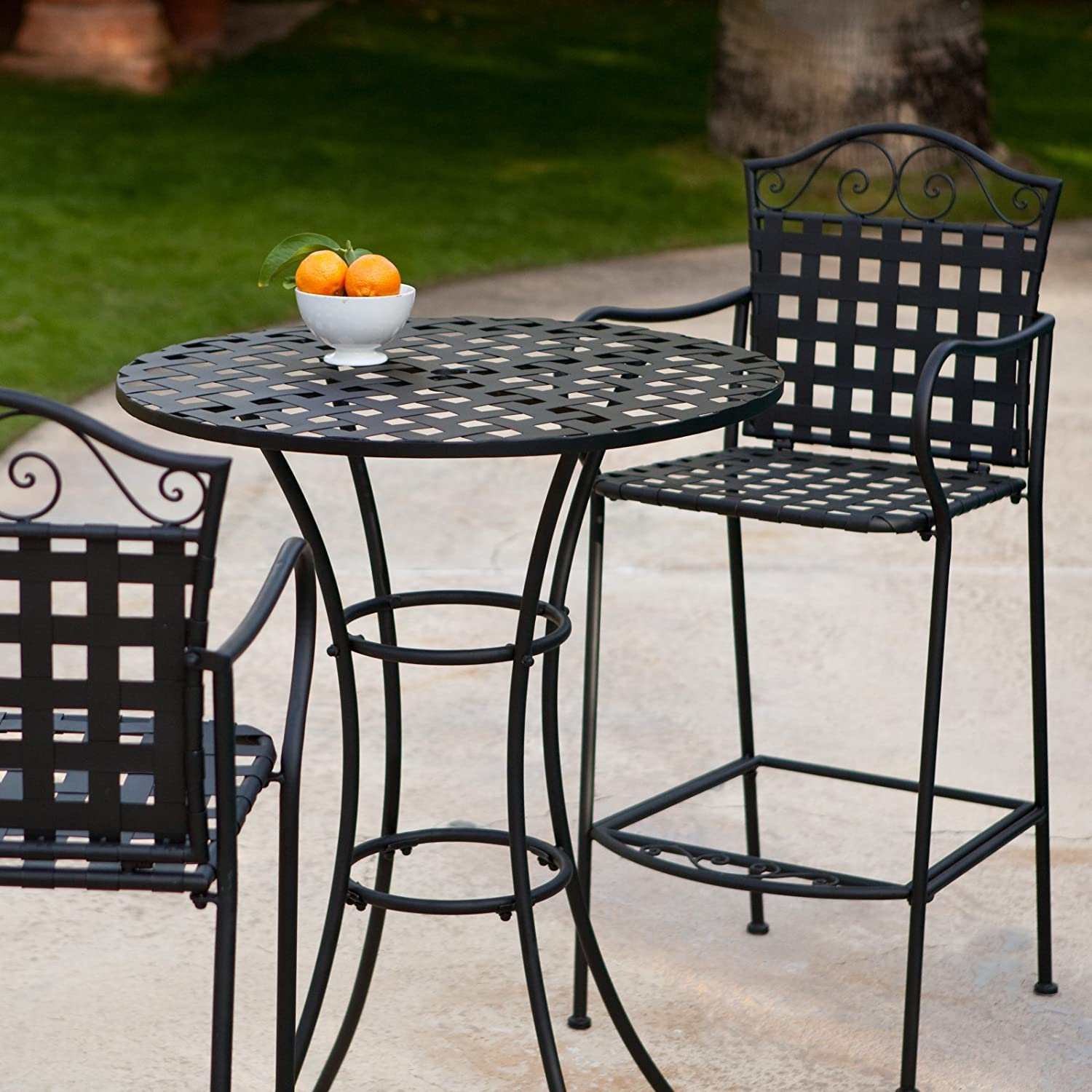 Amazon.com Belham Living Capri Wrought Iron Bar Height Bistro Table by Woodard Garden u0026 Outdoor & Amazon.com: Belham Living Capri Wrought Iron Bar Height Bistro Table ...